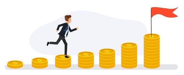 Geschäftsmann läuft die stapel von münzen hoch. finanzielles erfolgskonzept, in richtung bewegend. flache vektor-cartoon-figur.