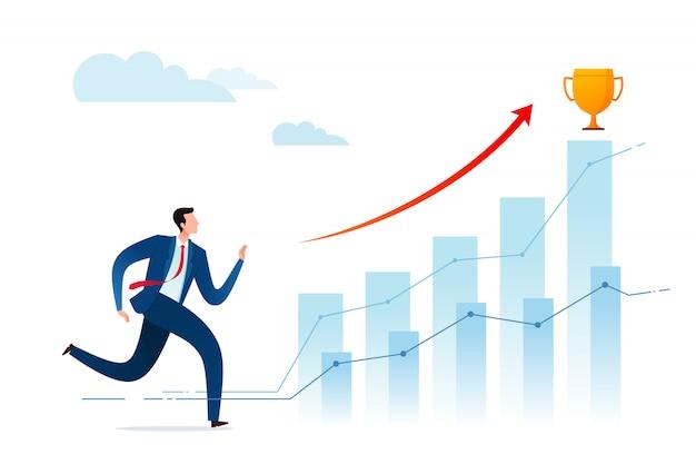 Geschäftsmann läuft für mehr leistung und belohnung