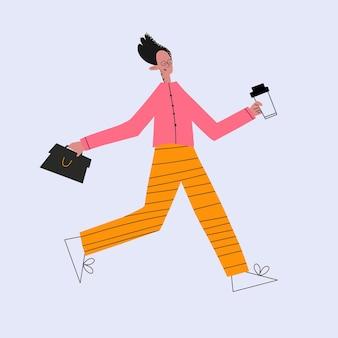 Geschäftsmann läuft mit aktentasche und kaffee