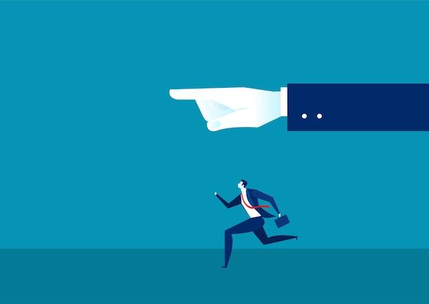Geschäftsmann läuft mit handführer. zeitmanagement. zeit ist geldkonzept.
