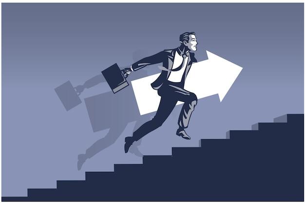 Geschäftsmann läuft schnell auf treppen, die großen pfeil tragen. geschäftsillustrationskonzept des geschäftsmannes, der vorwärts in richtung entwicklung geht