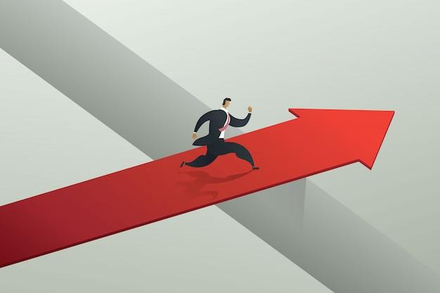 Geschäftsmann läuft über die rote pfeilbrücke, um ziel zu erreichen