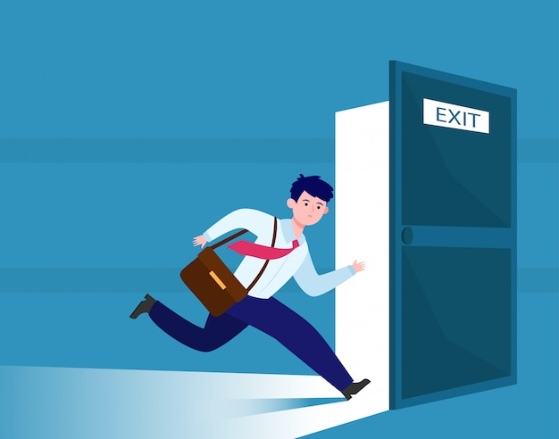 Geschäftsmann läuft, um ausgang zu entkommen