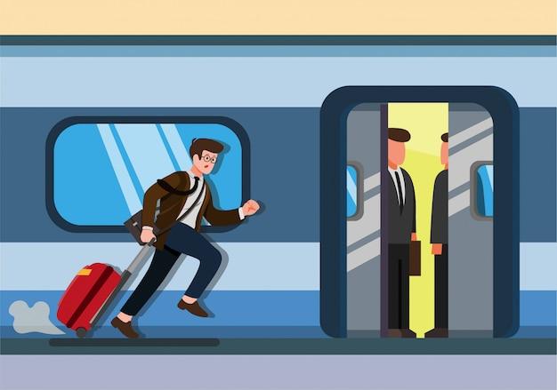 Geschäftsmann läuft, um zugbüro mann mit gepäck auf bahnhofsstadt öffentlichen verkehrsmitteln zu fangen. karikatur flache illustration lokalisiert im weißen hintergrund