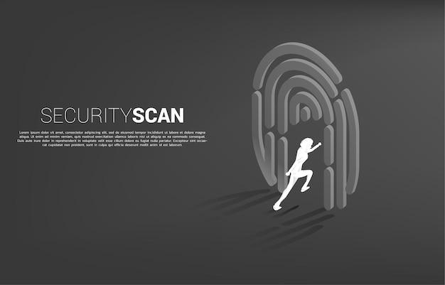 Geschäftsmann läuft zum fingerscan-symbol. konzept für sicherheits- und datenschutztechnologie für identitätsdaten