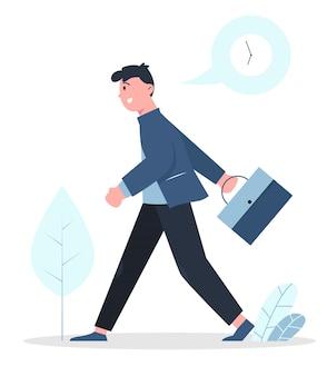 Geschäftsmann laufen für die rückkehr zur arbeit