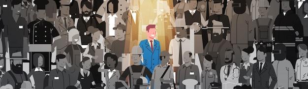 Geschäftsmann leader stand out from crowd-einzelperson, scheinwerfer-mietpersonaleinstellungs-kandidat people group business team concept