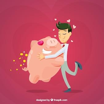 Geschäftsmann liebe hintergrund mit seinem sparschwein