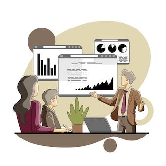 Geschäftsmann macht datenpräsentation vor kunden