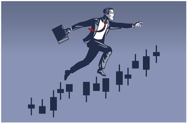 Geschäftsmann macht großen sprung auf trading chart bar. geschäftsillustrationskonzept der finanzkarriereförderung