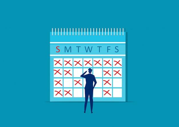 Geschäftsmann macht notizen im kalender. arbeitsmonat planen. planen sie erinnerungen für datensätze. vektor-illustration