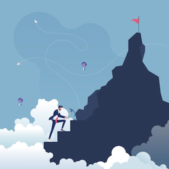 Geschäftsmann macht schritte zum ziel auf der spitze des berges - machen sie ein anstrengung-konzept