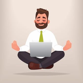 Geschäftsmann macht yoga. das konzept der meditation. beruhigen sie sich bei der arbeit und finden sie lösungen im geschäft. im cartoon-stil