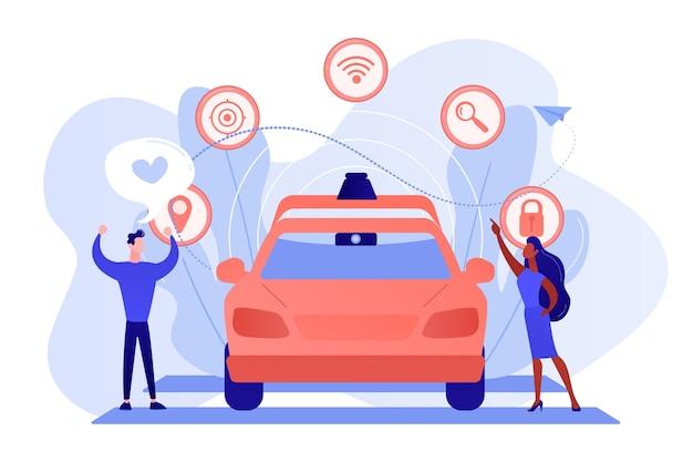 Geschäftsmann mag autonomes fahrerloses auto mit intelligenten technologieikonen