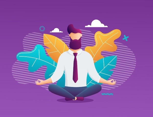 Geschäftsmann meditation im büro. junger mann, der in lotussitz entspannt. illustration