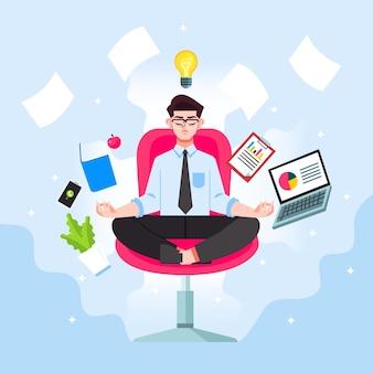 Geschäftsmann meditiert auf seinem stuhl bei der arbeit