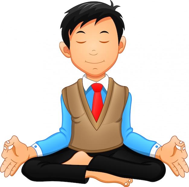 Geschäftsmann meditiert in einer yoga-haltung, er ist entspannt.