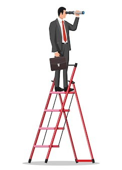 Geschäftsmann mit aktentasche auf leiter auf der suche nach möglichkeiten im fernglas. geschäftsmann mit teleskop. sucht nach neuen perspektiven. blick in die zukunft. führungskraft oder visionär. flache vektorillustration