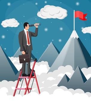 Geschäftsmann mit aktentasche auf leiter auf der suche nach möglichkeiten im fernglas. geschäftsmann schaut zum ziel auf dem berg auf. erfolg, leistung, karriereziel der geschäftsvision. flache vektorillustration