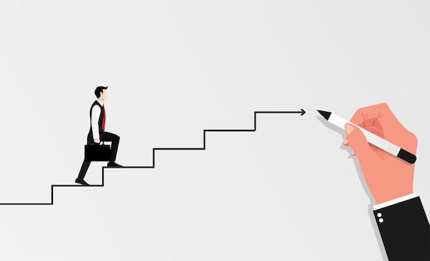 Geschäftsmann mit aktentasche, die treppen hochgeht, gezeichnet durch große hand. geschäftssymbolillustration