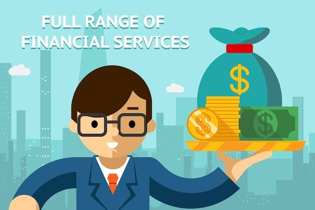 Geschäftsmann mit allen finanzdienstleistungen auf tablett. management- und erfolgsidee. vektorillustration