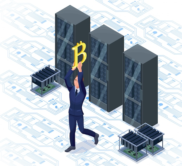 Geschäftsmann mit bitcoin lokalisiertem symbol