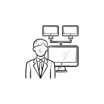 Geschäftsmann mit computer-netzwerk hand gezeichneten umriss-doodle-symbol. konferenz- und business-meeting-konzept