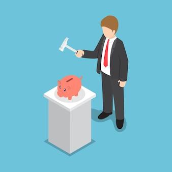 Geschäftsmann mit dem hammer bereit, das sparschwein zu zertrümmern