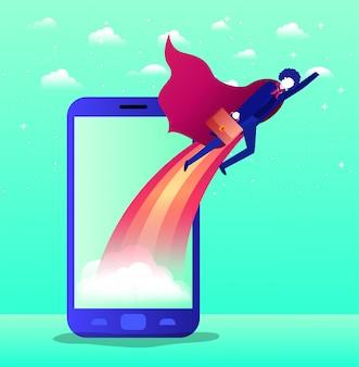 Geschäftsmann mit dem heldenmantel, der in smartphone fliegt