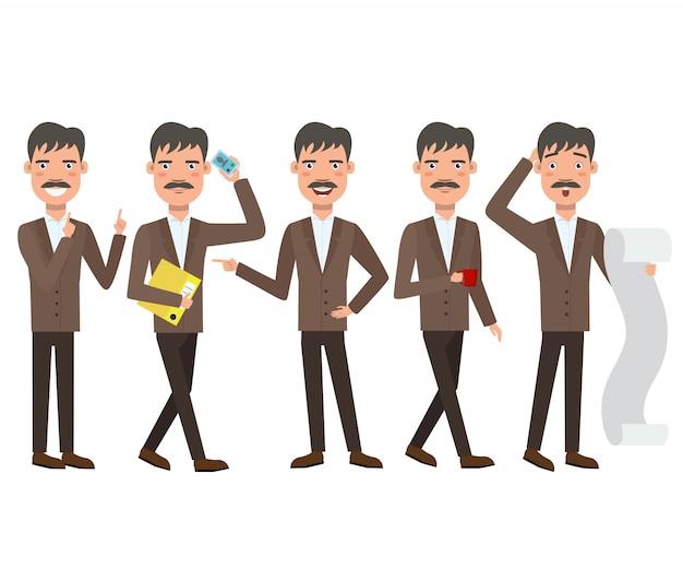 Geschäftsmann mit dem schnurrbartzeichensatz mit verschiedenen haltungen