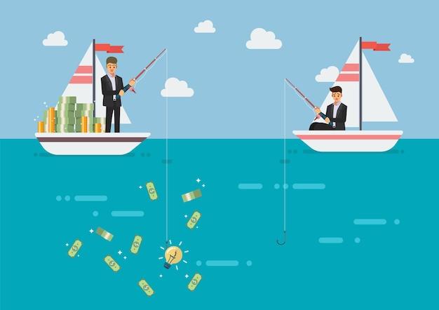 Geschäftsmann mit der idee, die mehr geld fischt als sein konkurrent
