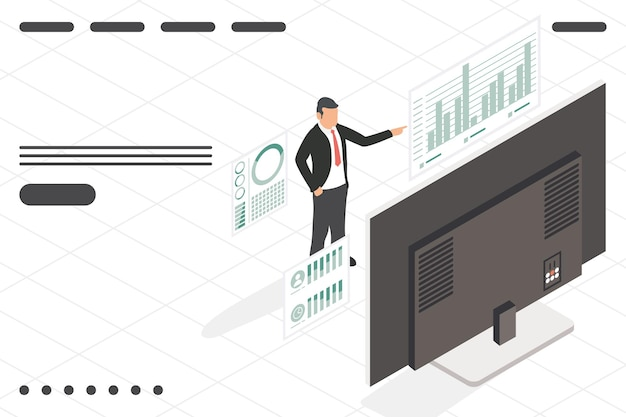 Geschäftsmann mit desktop-analyse