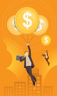 Geschäftsmann mit dollar-ballon
