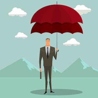 Geschäftsmann mit doppeltem regenschirm