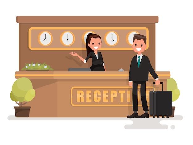 Geschäftsmann mit einem koffer um die rezeption
