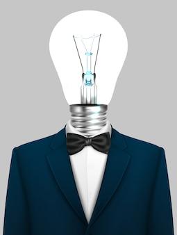Geschäftsmann mit einem lampenkopf