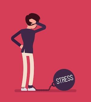 Geschäftsmann mit einem riesigen metallgewicht stress angekettet