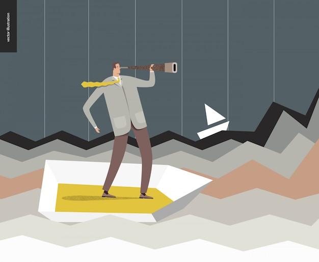 Geschäftsmann mit einem teleskop im boot