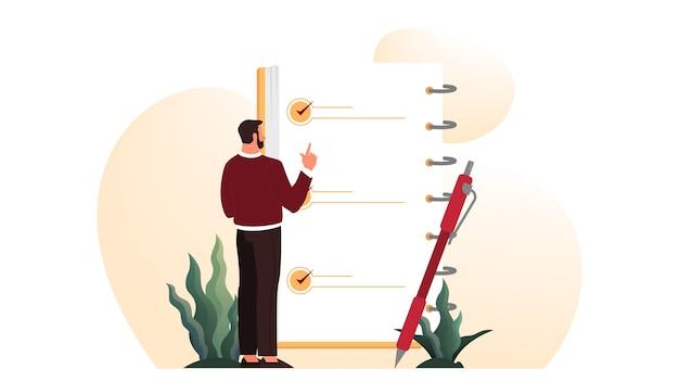 Geschäftsmann mit einer langen liste zu tun. großes aufgabendokument. mann, der ihre tagesordnungsliste betrachtet. zeiteinteilung . idee der planung und produktivität. illustrationssatz