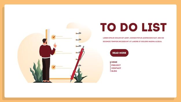 Geschäftsmann mit einer langen liste zu tun. großes aufgabendokument. mann, der ihre tagesordnungsliste betrachtet. zeitmanagement-konzept. idee der planung und produktivität. illustrationssatz