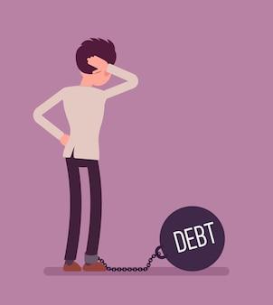 Geschäftsmann mit einer riesigen metallgewichtsverschuldung angekettet