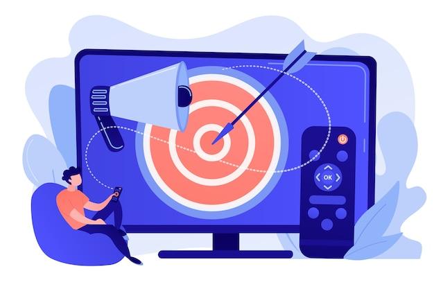 Geschäftsmann mit fernbedienung, der gezielte fernsehwerbung sieht. adressierbare fernsehwerbung, neue werbetechnologie, zielgerichtetes tv-marketingkonzept