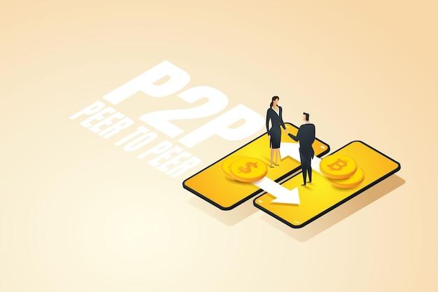 Geschäftsmann mit frau tauschen digitales geld über smartphone p2p peer-to-peer und fintech aus