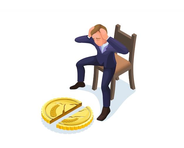 Geschäftsmann mit gebrochener münze