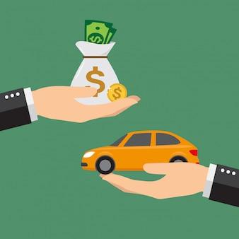 Geschäftsmann mit geld ein auto zu kaufen