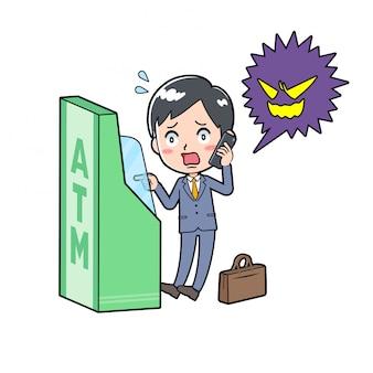 Geschäftsmann mit geldautomat betrug