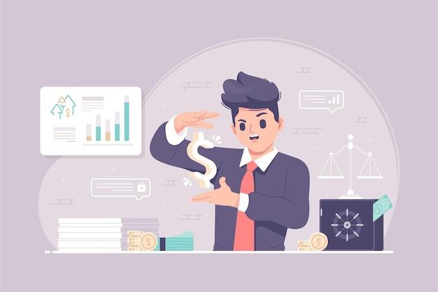 Geschäftsmann mit geldmagie-management-konzeptillustration
