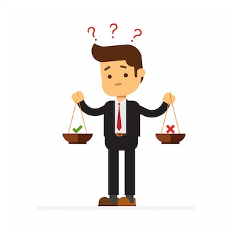 Geschäftsmann mit gewichten in der hand ist zu wählen, ja oder nein