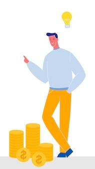Geschäftsmann mit glühlampe-vektor-illustration