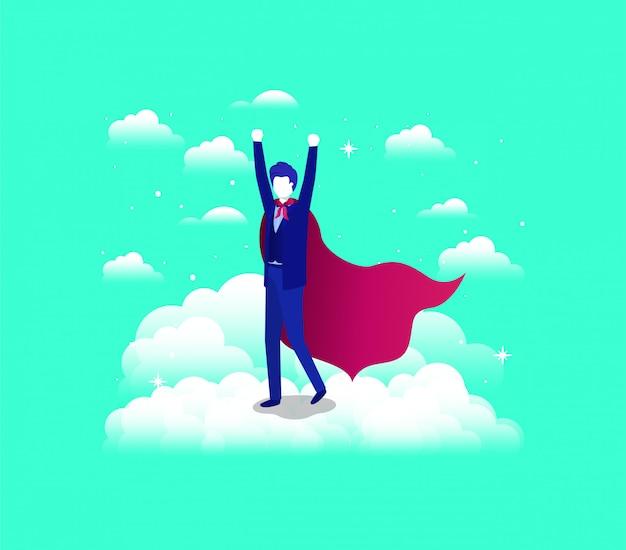 Geschäftsmann mit heldenmantel in den himmel laufen